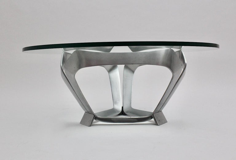 Aluminum Glass Space Age Vintage Coffee Table by Knut Hesterberg 1960s Germany For Sale 2