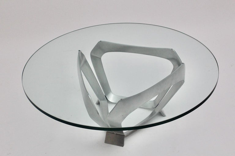 Aluminum Glass Space Age Vintage Coffee Table by Knut Hesterberg 1960s Germany For Sale 3