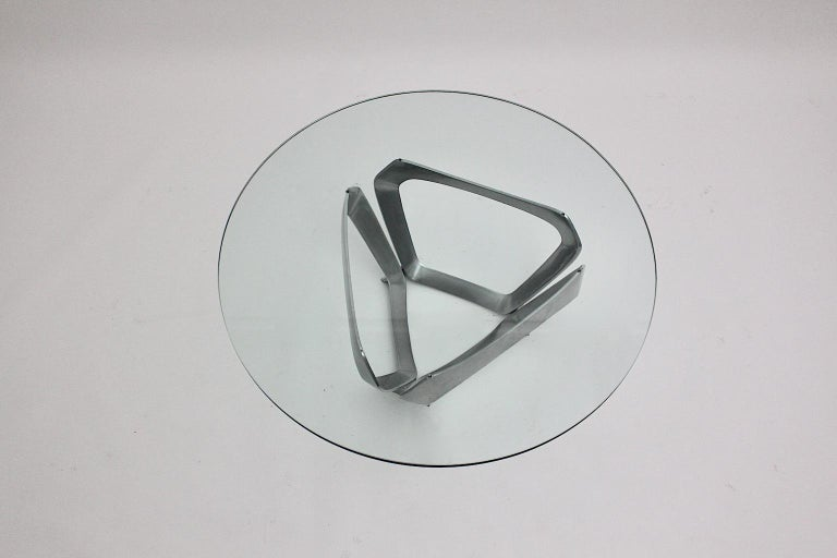 Aluminum Glass Space Age Vintage Coffee Table by Knut Hesterberg 1960s Germany For Sale 4