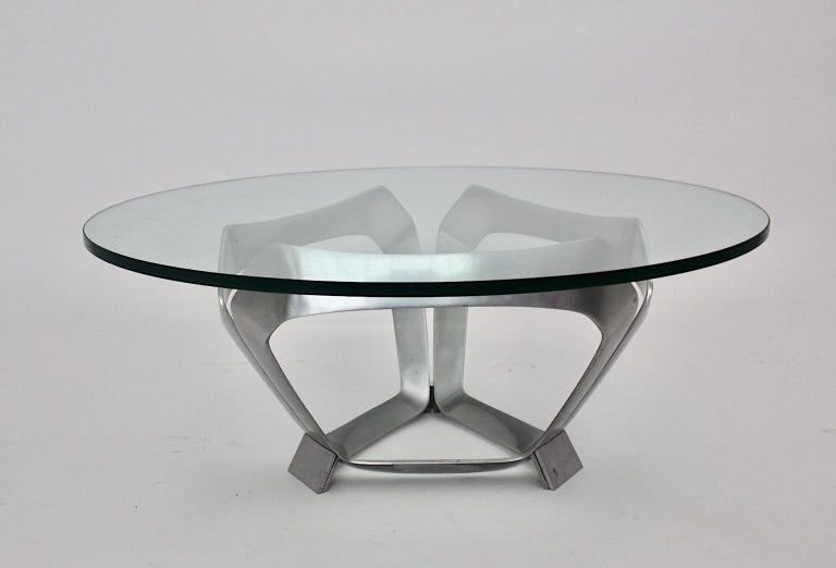 Aluminum Glass Space Age Vintage Coffee Table by Knut Hesterberg 1960s Germany For Sale 5