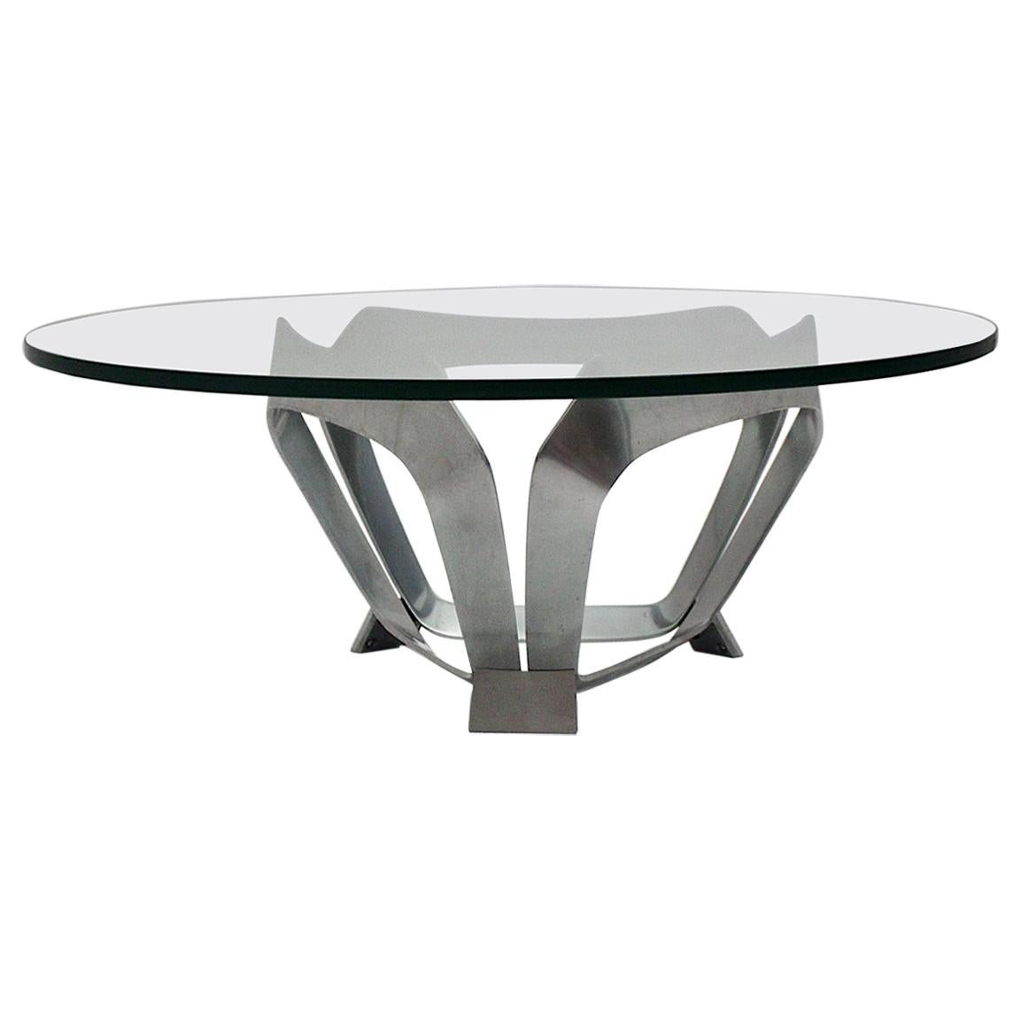 Aluminum Glass Space Age Vintage Coffee Table by Knut Hesterberg 1960s Germany