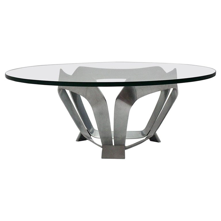 Aluminum Glass Space Age Vintage Coffee Table by Knut Hesterberg 1960s Germany For Sale