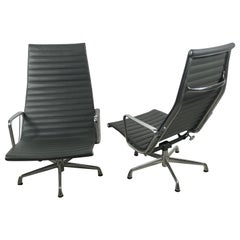 Aluminum Group Lounge Chairs by Charles Eames for Herman Miller, Custom Leather