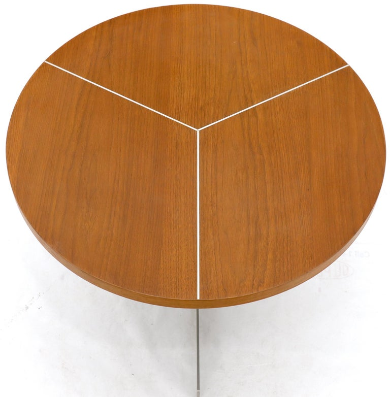 Aluminum Inlay Walnut Top Tri Legged Side End Table For Sale 4