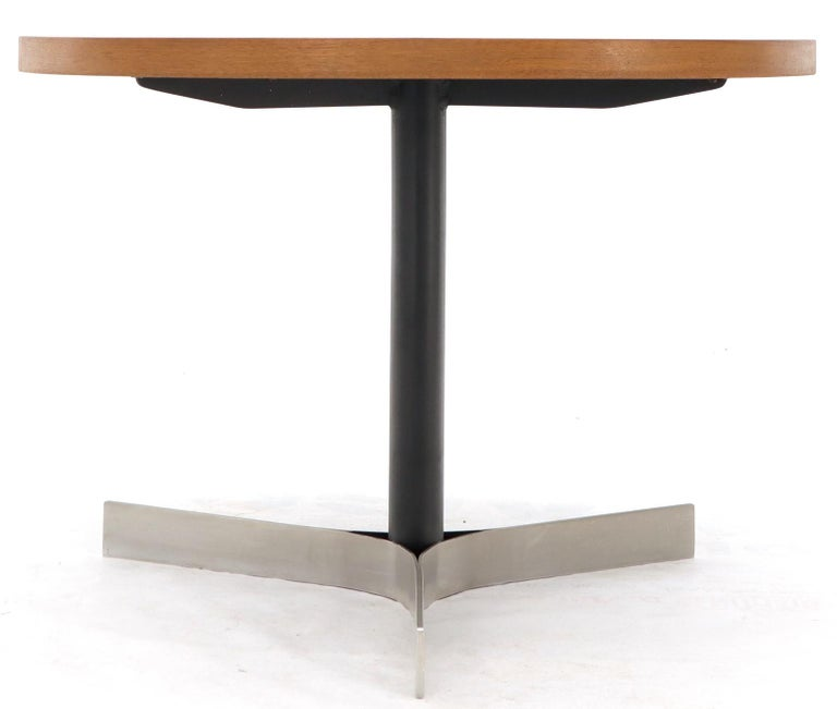 Aluminum Inlay Walnut Top Tri Legged Side End Table For Sale 5