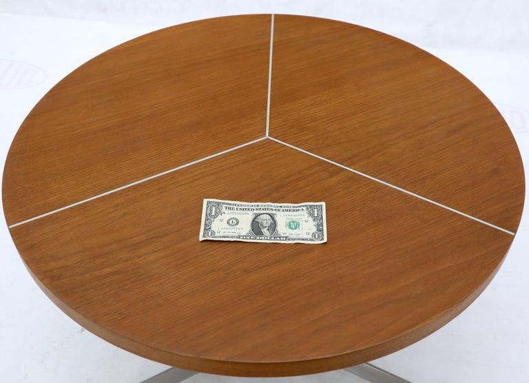 Mid-Century Modern Aluminum Inlay Walnut Top Tri Legged Side End Table For Sale