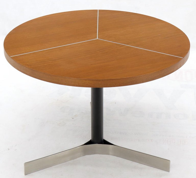 American Aluminum Inlay Walnut Top Tri Legged Side End Table For Sale