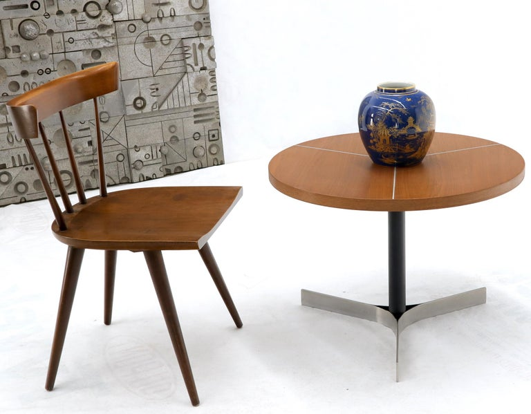 20th Century Aluminum Inlay Walnut Top Tri Legged Side End Table For Sale
