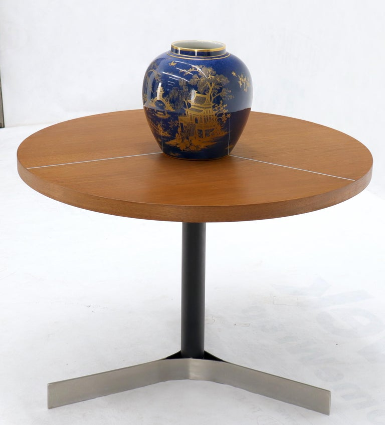 Aluminum Inlay Walnut Top Tri Legged Side End Table For Sale 1