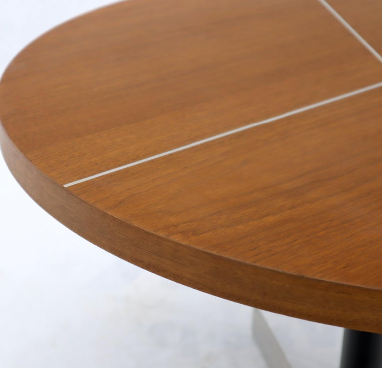 Aluminum Inlay Walnut Top Tri Legged Side End Table For Sale 2
