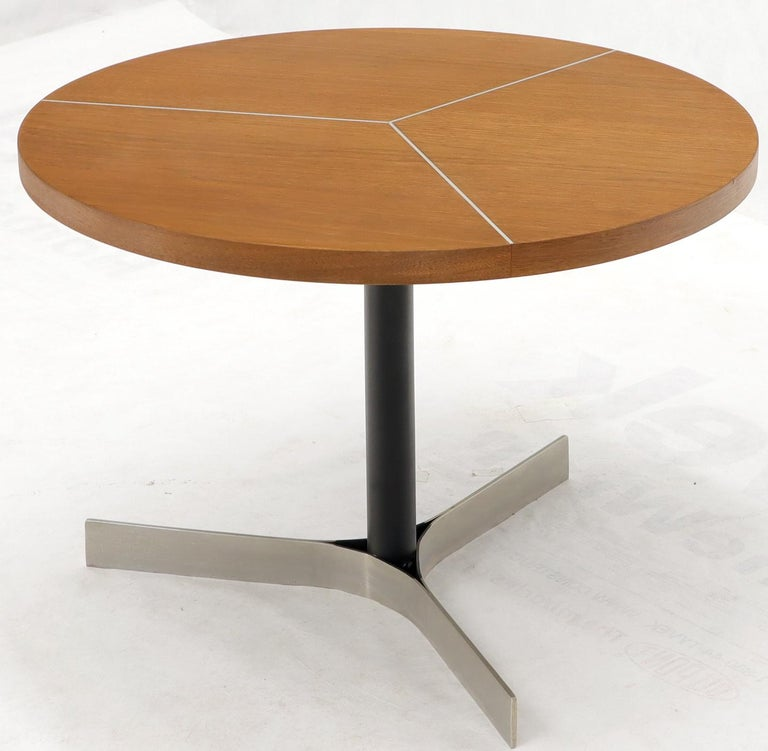Aluminum Inlay Walnut Top Tri Legged Side End Table For Sale 3