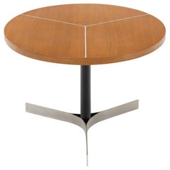 Aluminum Inlay Walnut Top Tri Legged Side End Table
