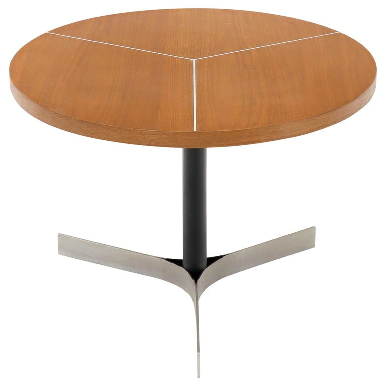 Aluminum Inlay Walnut Top Tri Legged Side End Table For Sale