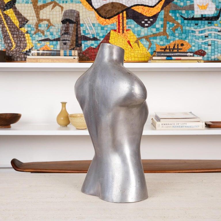 Mid-20th Century Aluminum Mannequin Torso Sculpture For Sale