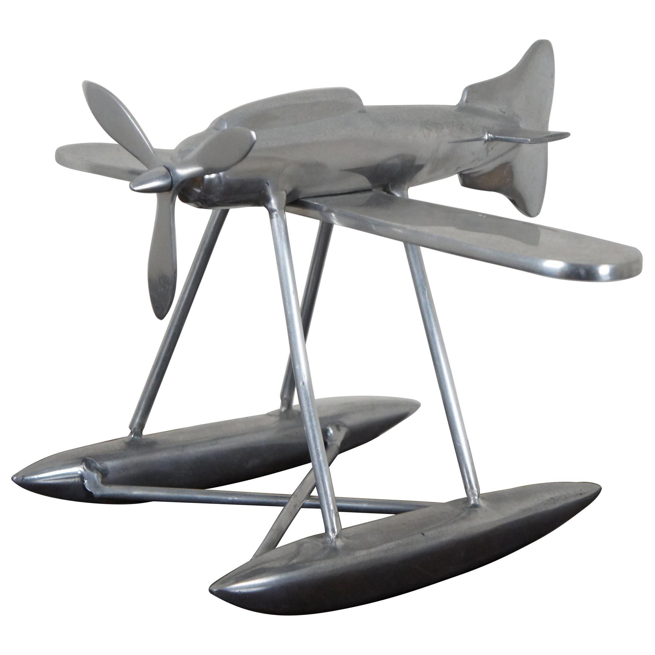 Aluminum Model Sea Propeller Airplane Metal Plane Sculpture Modern Nautical