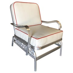 Aluminum Patio/Outdoor Lounge Pair Chair w/ Scrolling Side, Circa 1950