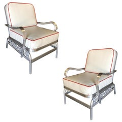 Aluminum Patio/Outdoor Lounge Pair of Chair with Scrolling Side