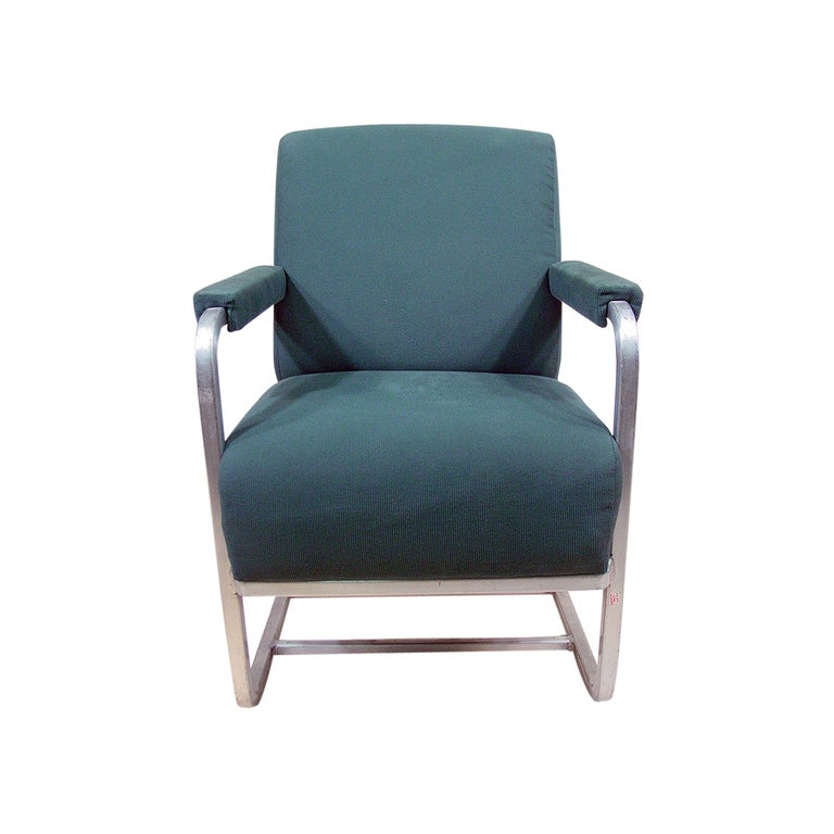 Mid-Century Modern Aluminum Pullman Passenger Train Railroad Lounge Chair For Sale