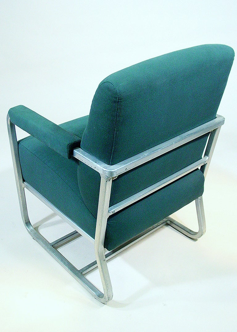 American Aluminum Pullman Passenger Train Railroad Lounge Chair For Sale