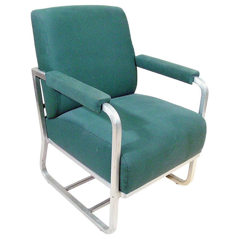Aluminum Pullman Passenger Train Railroad Lounge Chair For Sale