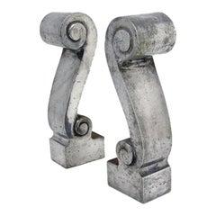 Aluminum Scroll Andirons - circa 1930's