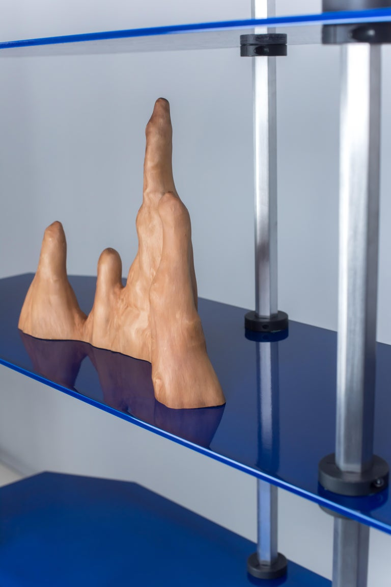 Modular Shelving in Metallic Blue Glaze by Birnam Wood Studio For Sale 4