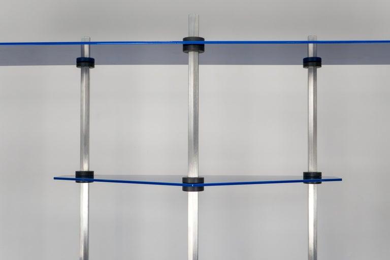 Aluminum Modular Shelving in Metallic Blue Glaze by Birnam Wood Studio For Sale