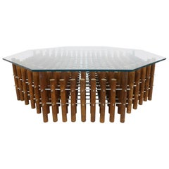 Aluminum & Wood-Dowel Hexagonal Glass-Top Coffee Table