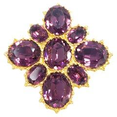 Alva Amethyst Crystal Pin Brooch in Gold, 20th Century