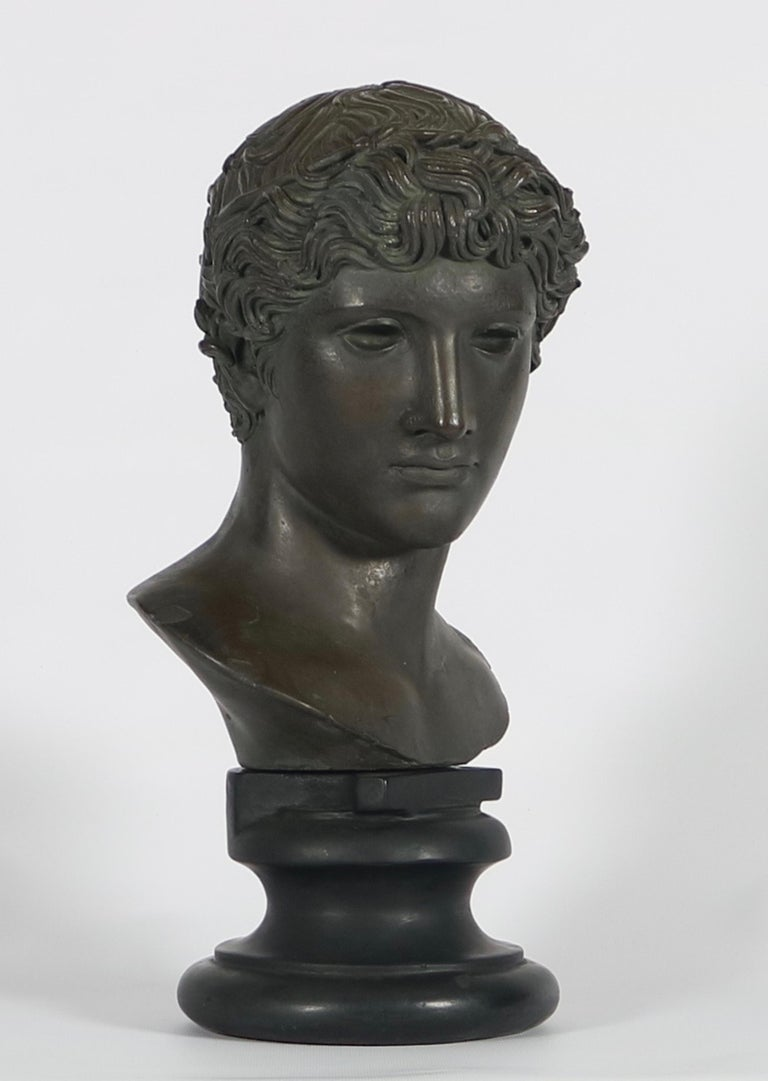 Greco-Roman bust reproduced by Alva Studios in black cast stone. The sculpture depicts a youth with a circlet tied around his curls. Wear appropriate to age and use. The bust remains in very good condition.