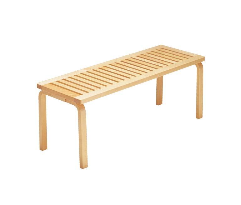 Scandinavian Modern Alvar Aalto 153A Bench for Artek in White Lacquer For Sale