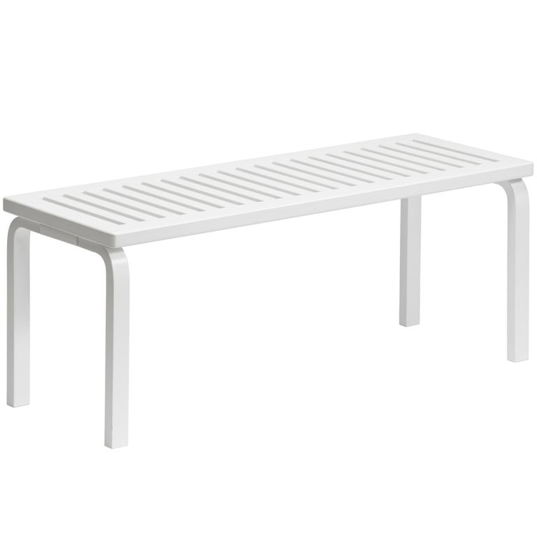Alvar Aalto 153A Bench for Artek in White Lacquer For Sale