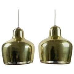 """Alvar Aalto, a Vintage Pair """"Golden Bell"""" Pendants, Louis Poulsen, 1960s"""