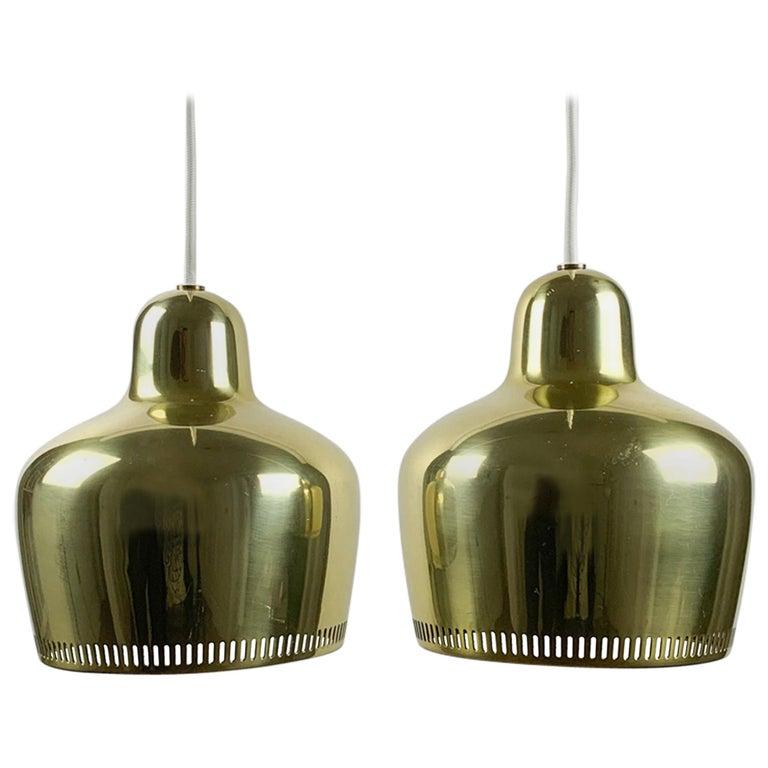 """Alvar Aalto, a Vintage Pair """"Golden Bell"""" Pendants, Louis Poulsen, 1960s For Sale"""