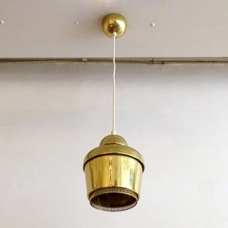 Scandinavian Modern Alvar Aalto A330 Golden Bell, Pendant Light, 1960