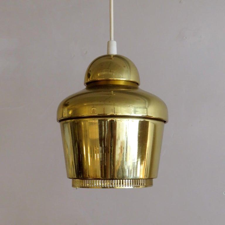 Polished Alvar Aalto A330 Golden Bell, Pendant Light, 1960