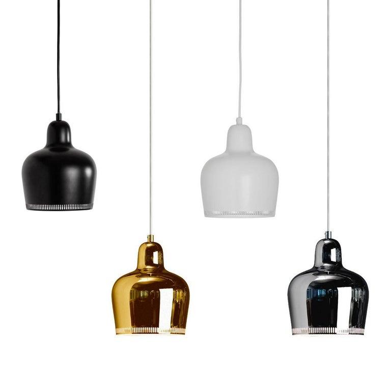 Finnish Alvar Aalto A330s 'Golden Bell' Black Pendant Light for Artek For Sale