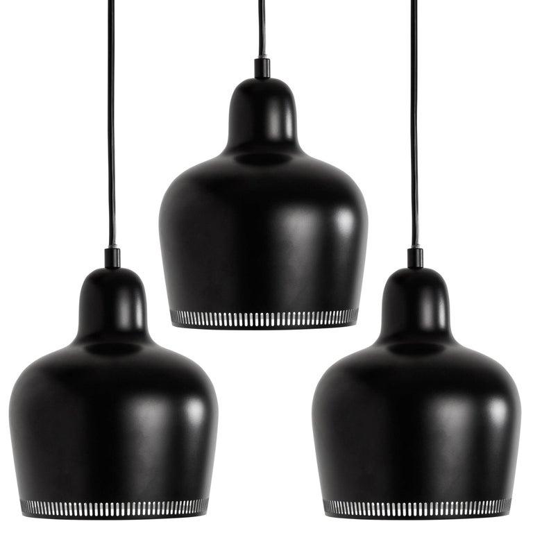 Alvar Aalto A330s 'Golden Bell' Black Pendant Light for Artek For Sale