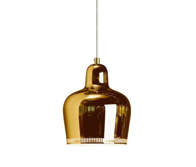 Scandinavian Modern Alvar Aalto A330S 'Golden Bell' Brass Pendant Light for Artek For Sale
