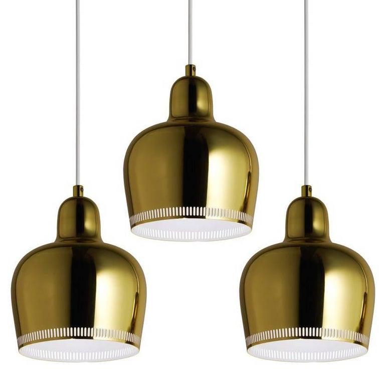 Alvar Aalto A330S 'Golden Bell' Brass Pendant Light for Artek For Sale