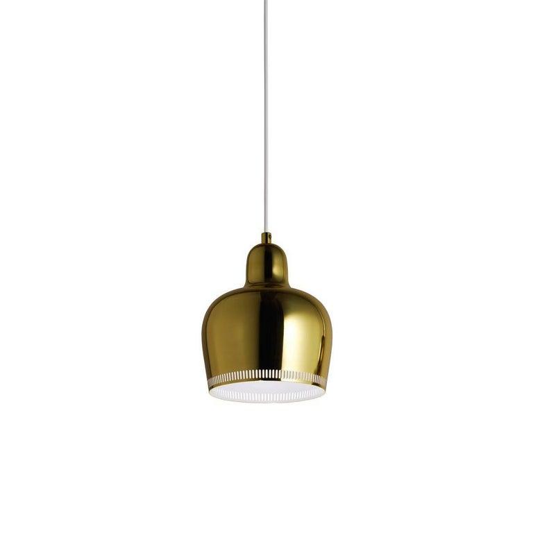 Brass Alvar Aalto A330s 'Golden Bell' Chrome Pendant Light for Artek For Sale