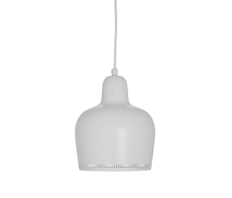 Alvar Aalto A330S 'Golden Bell' white pendant light for Artek. Designed in 1937, this iconic lamp has since remained in near constant production by its original manufacturer, Artek of Finland. Executed in clear lacquered brass with white painted