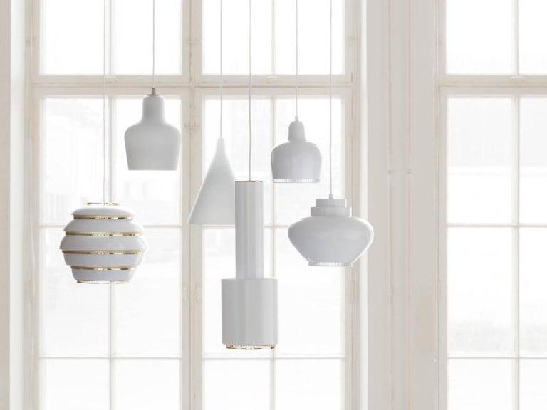 Scandinavian Modern Alvar Aalto A330S 'Golden Bell' White Pendant Light for Artek For Sale