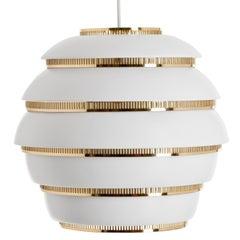 Alvar Aalto A331 'Beehive' Pendant Light for Artek in White and Brass