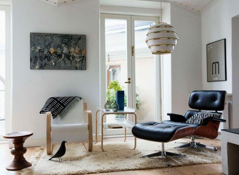 Scandinavian Modern Alvar Aalto A331 'Beehive' Pendant Light for Artek in White and Chrome For Sale
