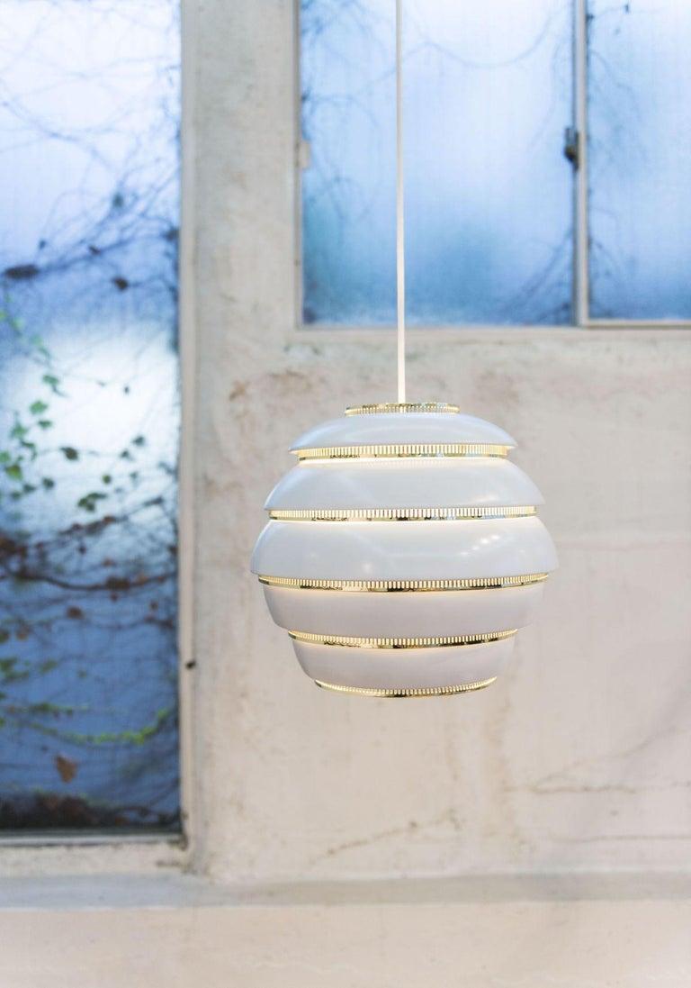 Finnish Alvar Aalto A331 'Beehive' Pendant Light for Artek in White and Chrome For Sale