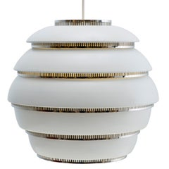 Alvar Aalto A331 'Beehive' Pendant Light for Artek in White and Chrome