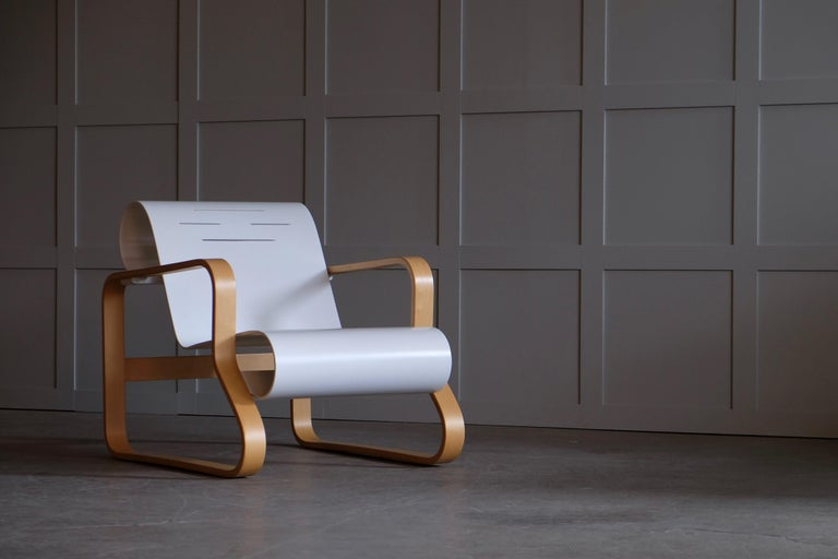 Produced late 1970s by Artek. Excellent condition, no signs of usage. Designed by Alvar Aalto in 1932, Armchair 41 was created for the interior of a tuberculosis sanatorium in the Finnish city of Paimio and is considered one of Aalto's