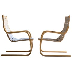 Alvar Aalto Armchair Model 406 Pair of Cantilever Chairs by Artek, circa 1970s