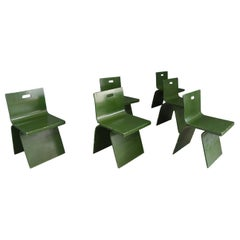 Alvar Aalto Attributed Set of Six Chairs in Green Veneered Wood from 1930s
